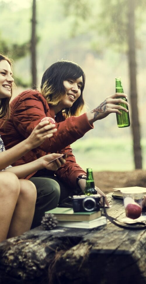 Friends Camping Having Drinks Concept